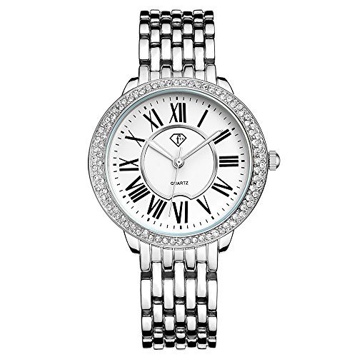 Quartz Silver Wrist Watch (Women Bracelet Watch Luxury Crystal Wrist Watches Ladies Classic Dial Quartz Wristwatch (4005 Silver))