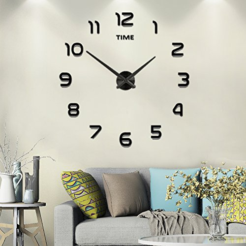 - Frameless Large 3D DIY Wall Clock Mute Mirror Stickers Home Office School Decoration (2-Year Warranty)