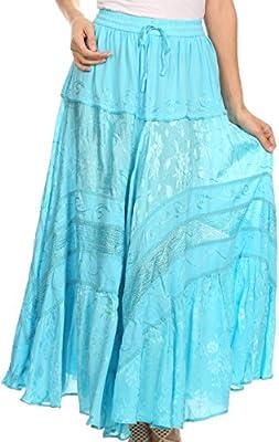 Sakkas Alber Adjustable Waist Boho Skirt with Detailed Embroidery with Ruffle Trim