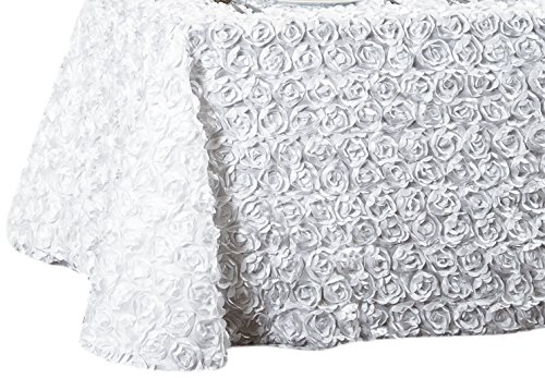 LinenTablecloth Rosette Satin Rectangular Tablecloth, 88 by 154-Inch, White