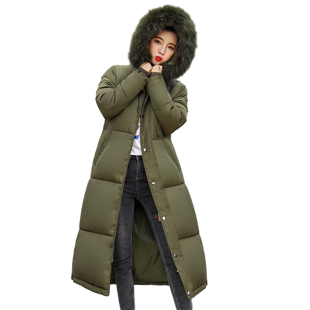 Army Green BETTERUU Winter Women's Long Down Cotton Ladies Parka Hooded Coat Quilted Jacket Outwear