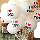 20Pcs 12Inch I Love You Romantic White Heart Balloons Party Wedding Birthday Christmas Event Decoration Balloon Wedding Gifts^.