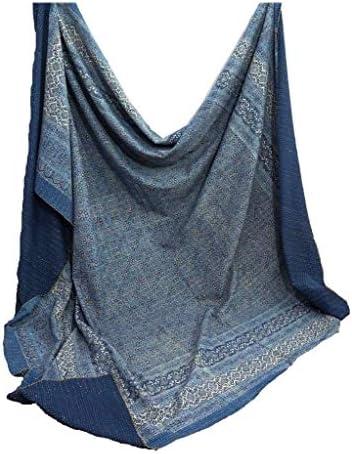 Blue Kantha Quilt KIng Size Hand Stitch Kantha Ajrakh Bedcover Indian Bohemian Kantha Ajrakh Quilt Throw Blanket Bohemian Kantha Bedspread