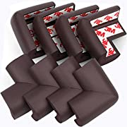 PORUARY Soft Baby Proofing Corner Guards Edge Protectors 8 Pack with Pre-Taped 3M Tape Clear Corner Protectors Safe Corner Cushion(L-Shaped) (Brown)