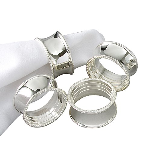 Elegance 82214 Tableware Beaded Round Napkin Rings, Silver-Plated, Set of 4, dia 3.5cm