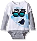 Tommy Hilfiger Baby Boys' Shark Double Long Sleeve Onesie, White, 6 Months