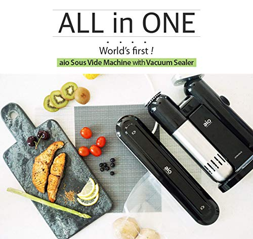 AIO Sous Vide Cooker - Powerful 1000 Watt Professional Model - 120V - Includes Vacuum Sealer - 15 Vacuum Bags - 1 16ft Roll - Cookbook - Immersion Circulator - Precision Thermal Kitchen Cooking Machine - Accurate to 0.2 degrees F - Ultra Quiet by AIO (Image #1)