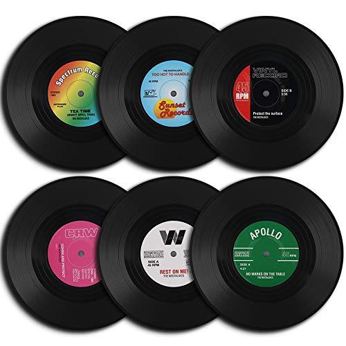 homEdge Vinyl Record Coasters, 6 Pieces of Retro Style Vinyl - Coasters Record