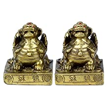 Handmade Feng Shui Art A Pair of Pi Yao /Pi Xiu for Wealth Collectible Statue Furniture to Cure the Tai Sui (S)
