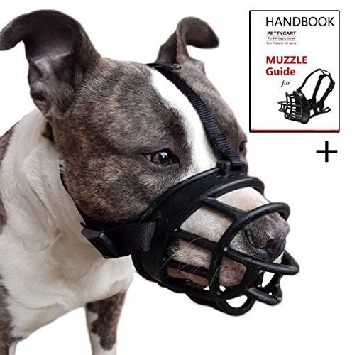 Pettycart Dog Muzzle, Soft Basket Muzzle for Medium Large Dogs, Best to Prevent Biting, Chewing and Barking (S-(Snout 7-9