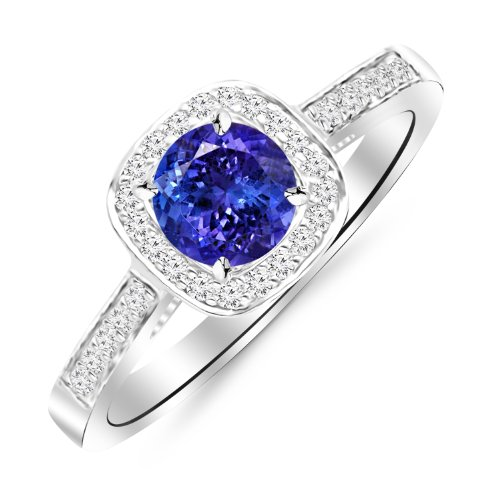 Ring Tanzanite Square (14K White Gold Classic Square Halo Single Row Pave Set Diamond Engaement Ring with a 1 Carat Tanzanite AAA Heirloom Center Stone)