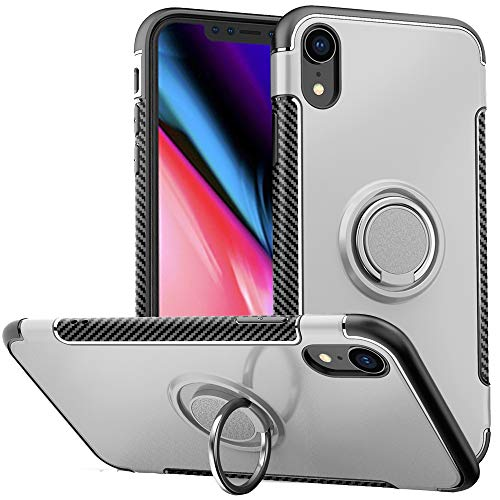 Anccer Metal Ring Kickstand for iPhone XR Case 360°+ 180° Two-Dimension Rotation Swivels Slim Soft TPU+PC Protective Case, Compatible with Magnetic Car Mount (Silver) ()