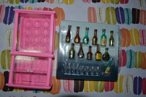 Barbie-Size-Dollhouse-Furniture-Wine-Cabinet-Liquor-Bottles-and-Glasses