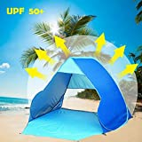 Summer Beach Tent, Sun Shelter Pop Up Tent, Portable Beach Tent Outdoor Shade Tent for Garden Fishing Hiking Picnic Protective Anti UV Camping Tent Quick Easy Set Up with Carry bag (2-3 Persons) …