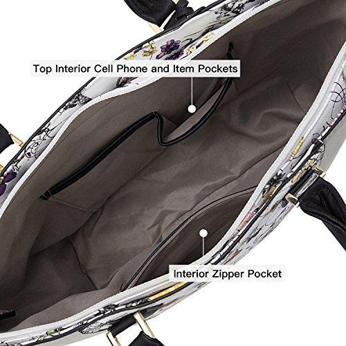 Dasein Handbag Women's Laptop White Bag Shoulder Bag Handle Purse Structured Floral Top Matching Silver Satchel 6417 Large Tote Wallet Designer ggAvwqr