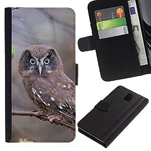 LECELL--Cuero de la tarjeta la carpeta del tirón Smartphone Slots Protección Holder For Samsung Galaxy Note 3 III -- INSPECCIÓN DEL BUHO --