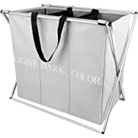 """WIFUME 3 Sections Large Laundry Hamper Basket X-Frame 24.4""""x 22.6"""" Collapsible Durable Dirty Clothes Bag Folding Washing…"""