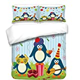 iPrint 3Pcs Duvet Cover Set,Birthday Decorations for Kids,Cartoon Penguin Party with Flags Cakes and Box,Light Blue and Fern Green,Best Bedding Gifts for Family/Friends