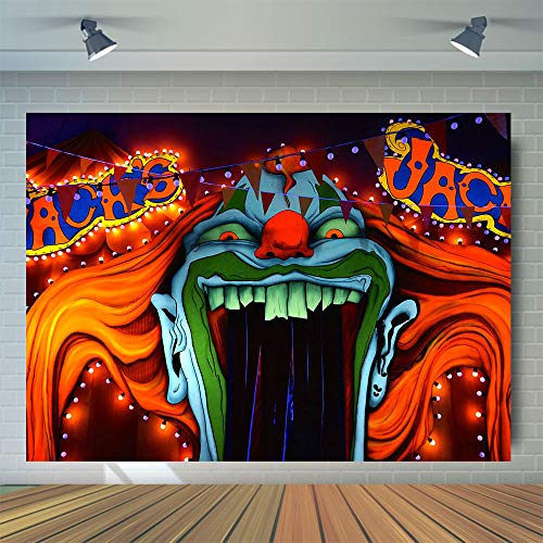 Halloween Eve Horror Circus Carnival Theme Photography Background Giant Halomas Birthday Party Photo Background Scary Entrance Giant Evil Vampire Cake Table Decoration Banner Studio Props 7x5ft Vinyl (Prop Clown Creepy)