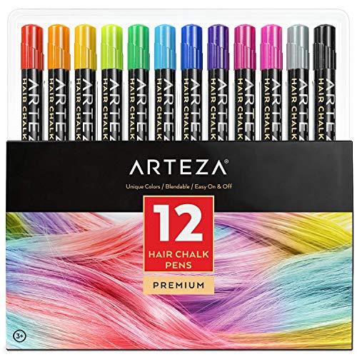 🥇 Arteza Tinte temporal de tiza para el pelo | 12 colores de tinte lavable para el cabello | Mechas temporales de colores vivos | Ideal para niñas