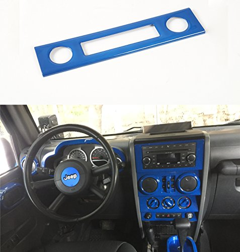 Opar Blue Center Dash Accents for 2007 - 2010 Jeep JK Wrangler & Unlimited