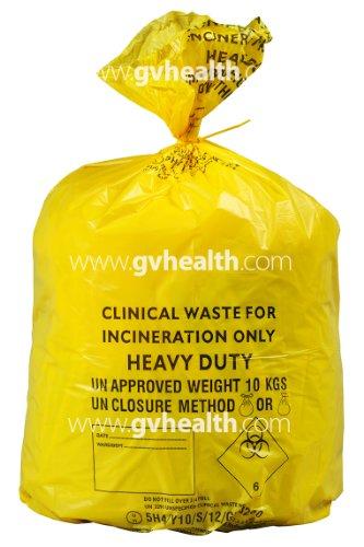 GV Health Abfalltüten für medizinische Abfälle, Stärkegrad Heavy Duty, groß, Gelb, 4 Rollen à 25 Stück
