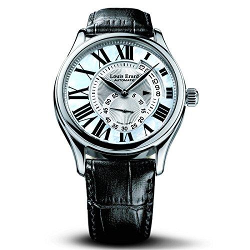 Louis Erard Asymetrique 92300AA01.BDCS6 40mm Automatic Stainless Steel Case Black Calfskin Anti-Reflective Sapphire Men's Watch