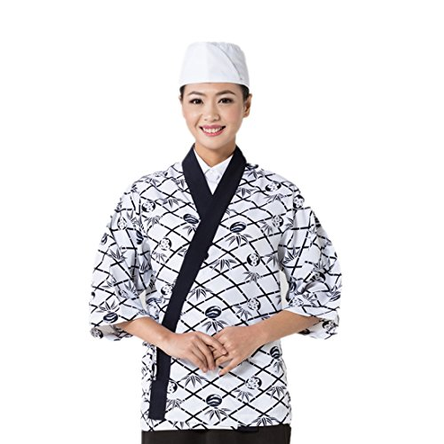 Japanese white sushi chef coat with flower pattern - Camo Chef Coat