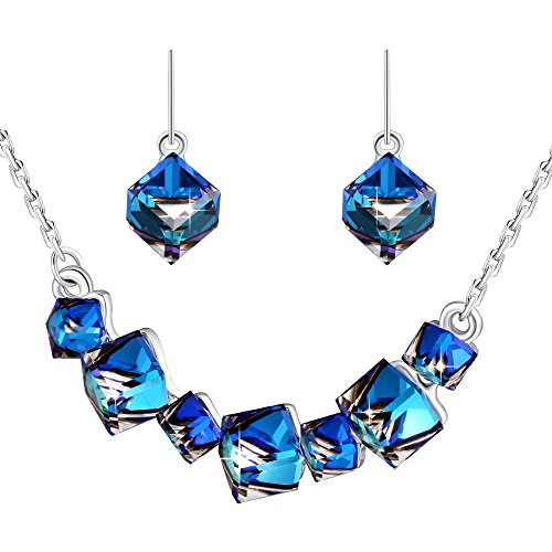 PLATO H Gift For Mom Smiling Pendant Necklace Earrings Jewelry Set with Swarovski Cube Crystals Mother's Day Gifts, Blue Crystal Necklace by PLATO H
