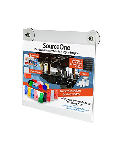 Source One Large 11 x 8.5 Inches Sign Holder Glass Window Mount with 2 Suction Cups (S1-Glass-1185)