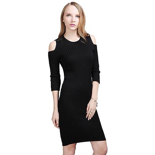 Zhiyuanan Donna Sexy Senza Spalline Abiti In Maglia Manica Mezza Il Collo Rotondo Vestiti Moda Color...