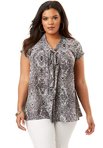 Roamans Women's Plus Size Evie Print V-Neck Top - Black Multi Print, 12 W