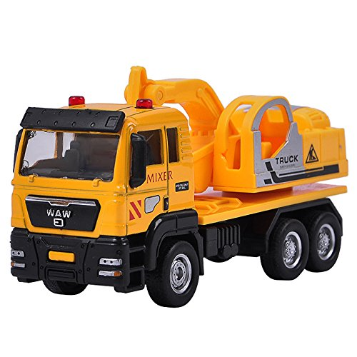 Qiyun 1:55 Push and Go Friction Powered Alloy ABS Metal Car Model Construction Trucks Toy Diecast Vehicle for Kids Birthday/Holiday Gifts