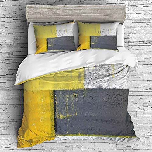 iPrint Cotton Duvet Cover Set 4 Pcs, Simple Solid Design, Super Soft and Easy Care(Singe Size) Grey and Yellow,Street Art Modern Grunge Abstract Design Squares,White Charcoal Grey and Light Yellow