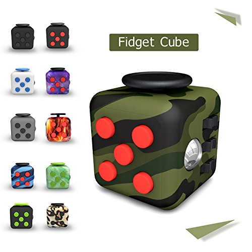 Tepoinn Fidget Attention Cube Relieves Stress and Anxiety Educational Development Toys for Children and Adults, Camouflage green