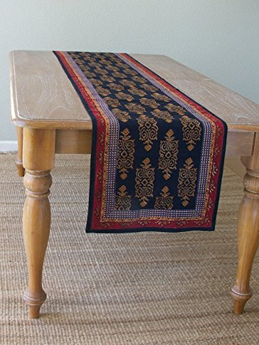 Incroyable Kilim Noir ~ Exotic Black Gold Table Runner 18x90