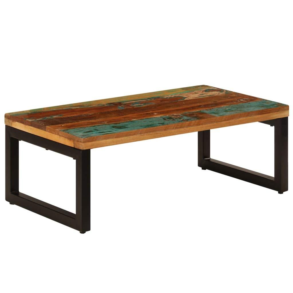 vidaXL Table Basse Bois de R/écup/ération Massif et Acier Table de Salon S/éjour