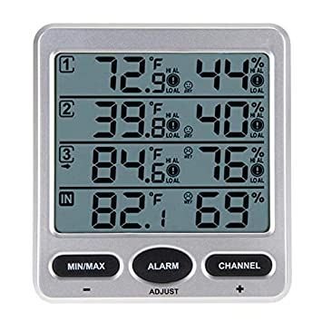 ZUEN Monitor de Humedad en el hogar, inalámbrico LCD ...