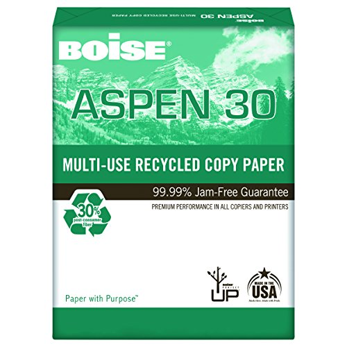 Boise 054904 ASPEN 30% Recycled Multi-Use Paper, 92 Bright, 20lb, 8 1/2 x 14, White (Case of 5000 Sheets)