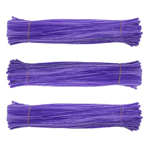Chenille Stem 300 PCS Purple Pipe Cleaners 6MM x 12 INCH Twistable Stems Children's Bendable Sculpting Sticks for Crafts and Arts (Purple)