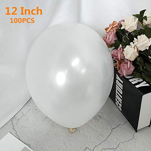12 Inch Latex Balloons, Thicken Round Metallic Pearlescent Latex Balloons, Balloons Party Supplies Decorations (Premium Helium Quality), Pack of 100, White