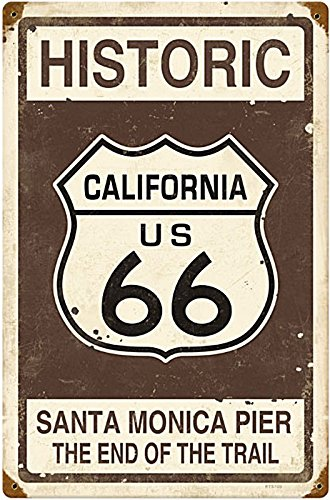 Historic Route 66 Santa Monica Pier Vintage Metal Sign 12 X 18 Steel Not Tin