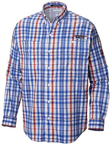 Columbia Men's PFG Super Tamiami Long Sleeve Shirt  , Vivid Blue Multi Plaid , Medium