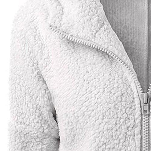 Cappuccio Lampo Luce Chiusura Cappotto Con Giacca Delle Di Misaky Grigia Inverno Caldo Vello Donne Lana qvw0IRH