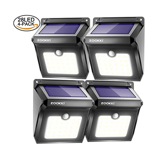 Zookki Solar Lights Outdoor 28 Led Wireless Motion Sensor