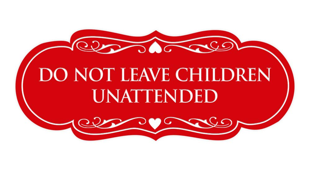 Small Red//Yellow Signs ByLITA Designer Do Not Leave Children Unattended Sign