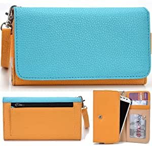 EXXIST® Classic Metro Series. Patent Leather Wallet / Clutch for Huawei Ascend P6 (Color: Baby Blue / Mustard Yellow) -ESMLMTYB