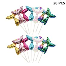 SUSHAFEN 28 Pcs Mermaid Tail Cake Toppers Glitter Cupcake Topper Cake Picks Fruit Picks For Birthday Party Baby Shower Wedding Cake Decoration Mermaid Theme Party Favors