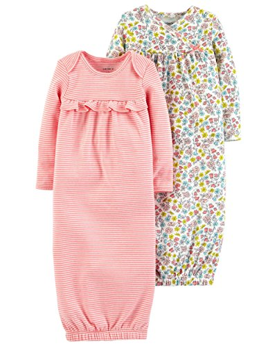 (Carter's Baby Girls' 2-Pack Babysoft Sleeper Gowns (3 Months, Pink/Floral) )