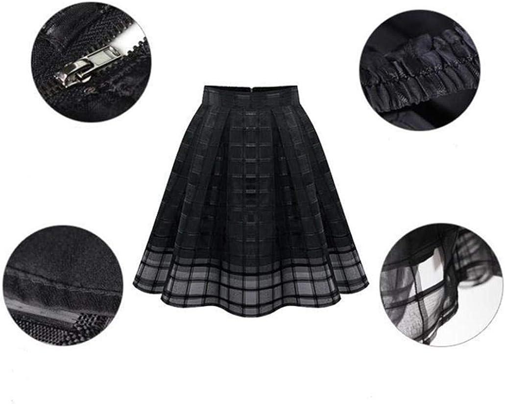 Holywin Women Organza High Waist Zipper Chiffon Princess Skirt